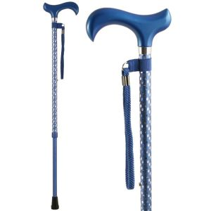 Charles Buyers Adjustable Blue Engraved Walking Stick - 54B