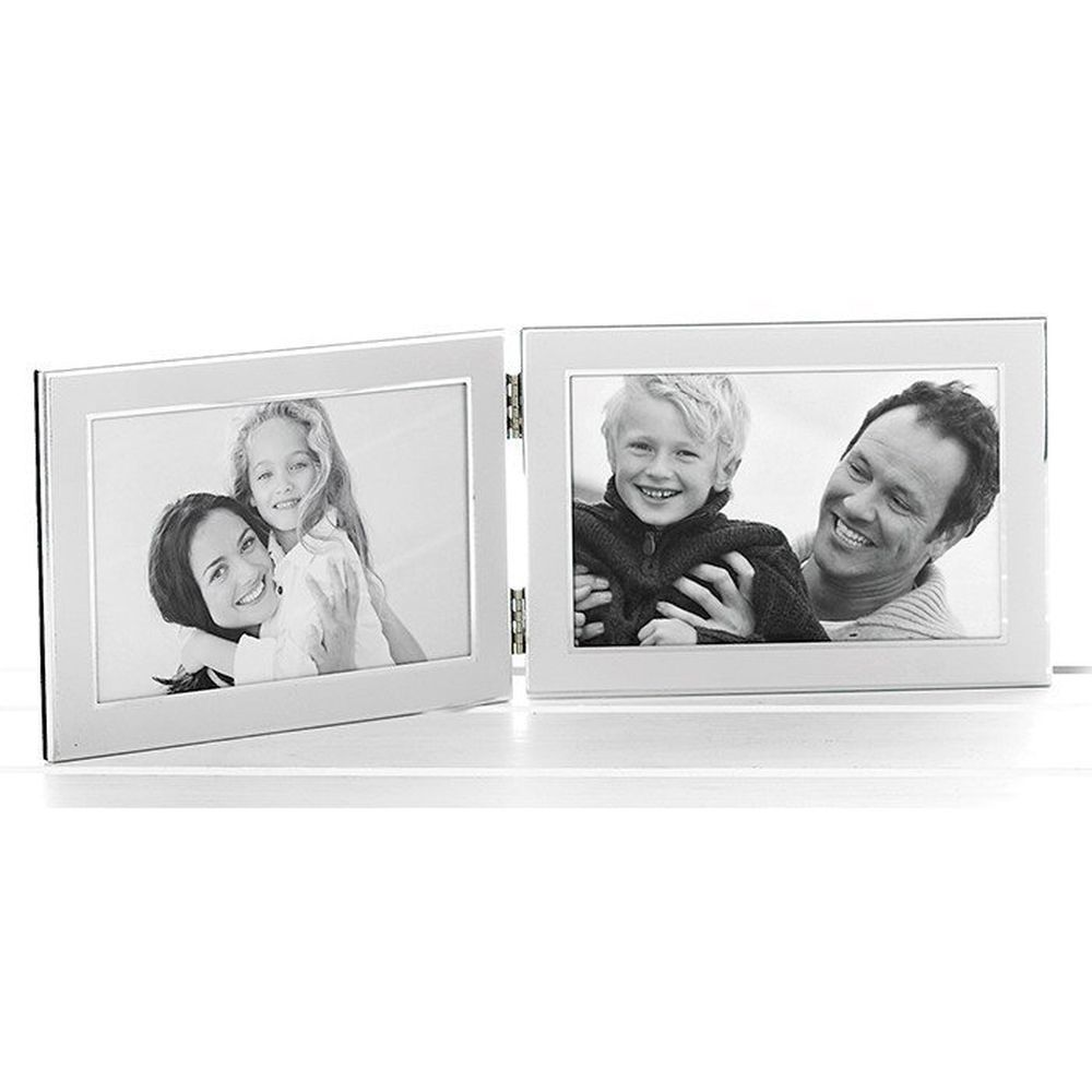 Plain White Silver Promotion 4x6 Double Photo Frame