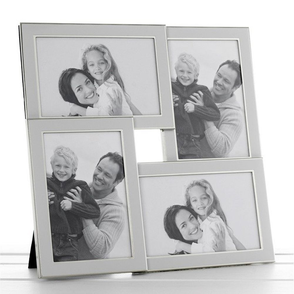 Plain White Silver 4 Picture Photo Frame