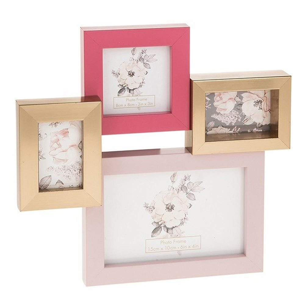 Collage Pink Gold Offset 4 Picture Frame