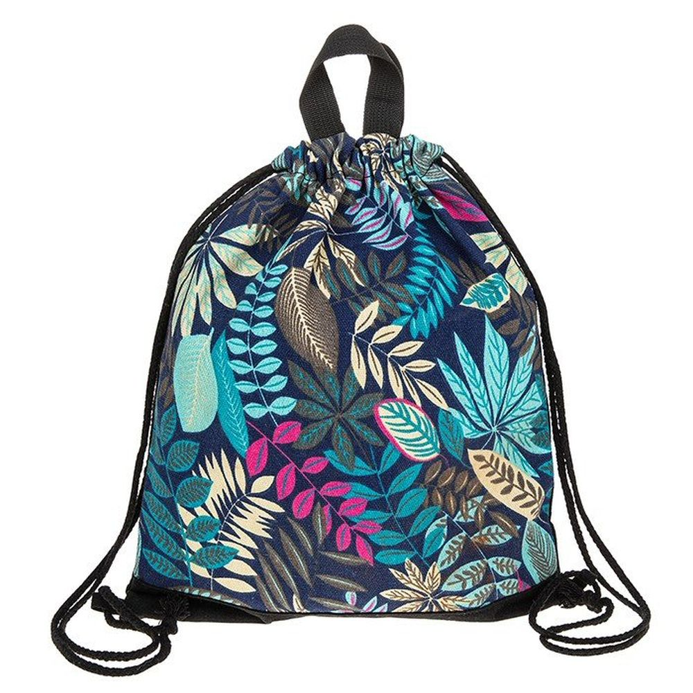 Blue Leaves Drawstring Bag