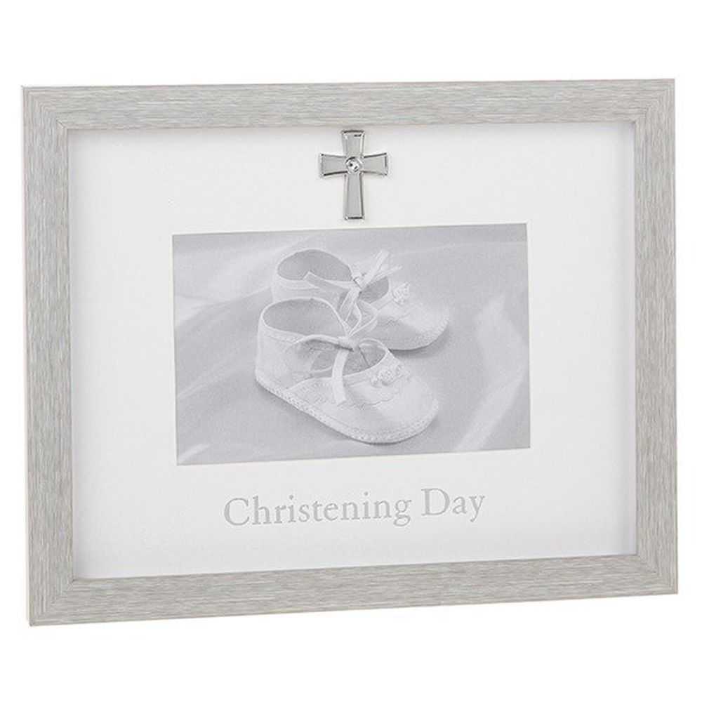 Modern Grey 6x4 Christening Photo Frame