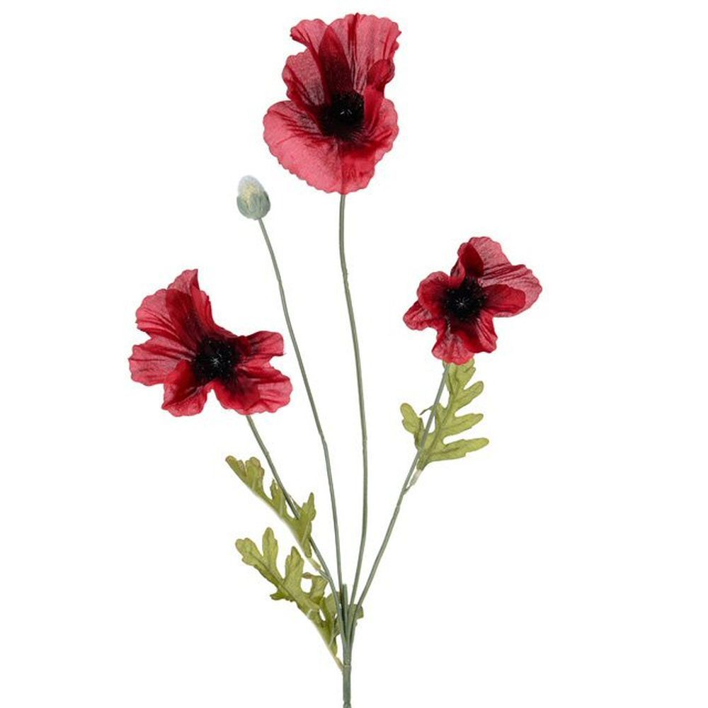 63cm Artificial Flame Red Poppy Stem
