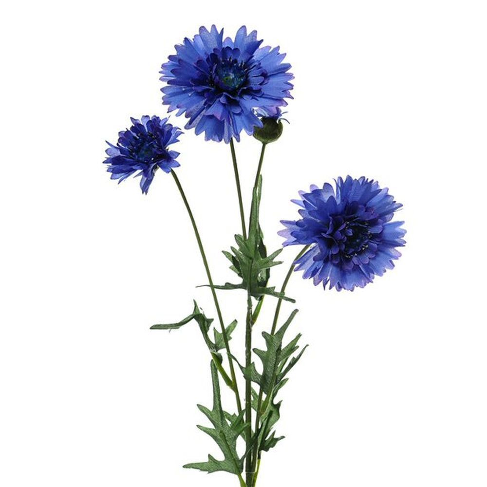 Silk Flowers Blue Cornflower Spray 65cm