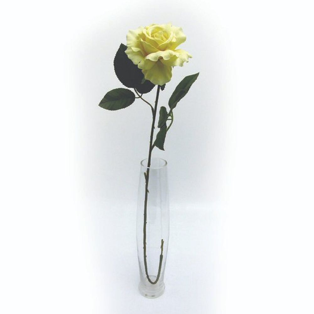 69cm Artificial Yellow Premium Rose Stem