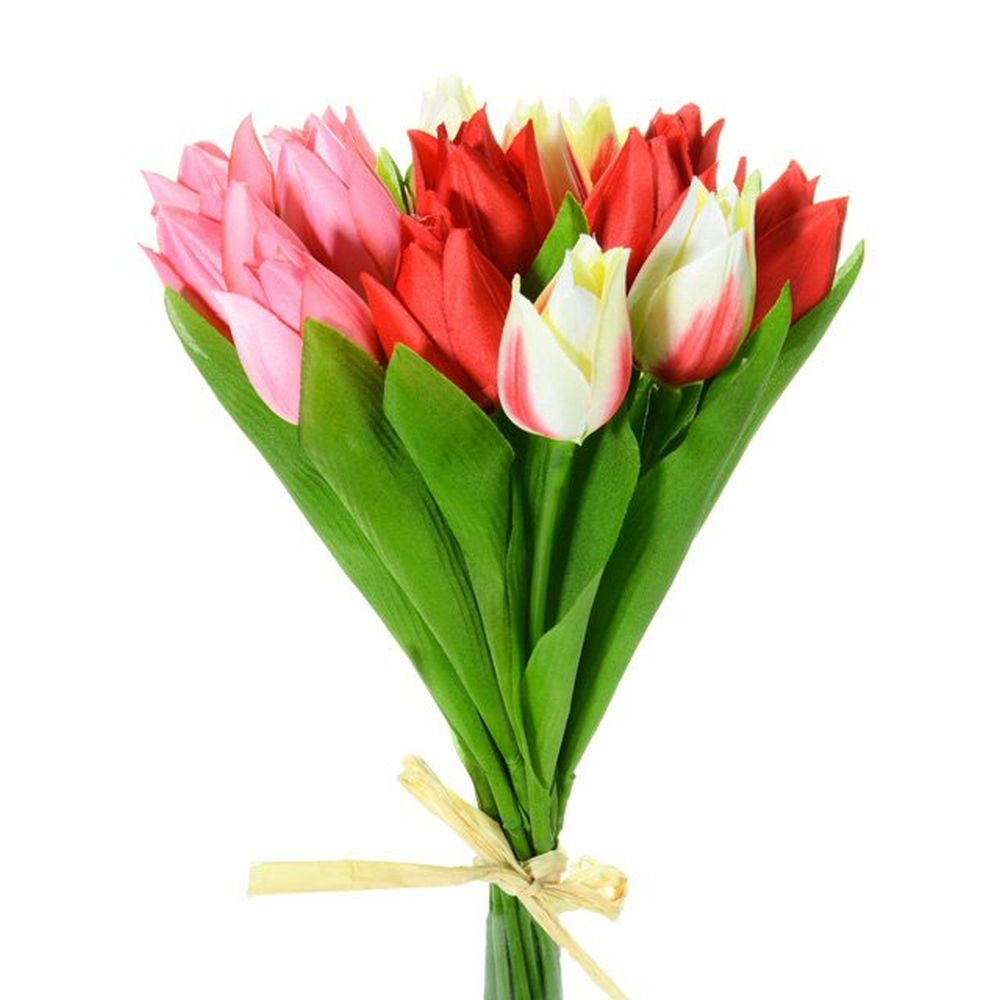 28cm Artificial Red & Cream Tulip Bundle