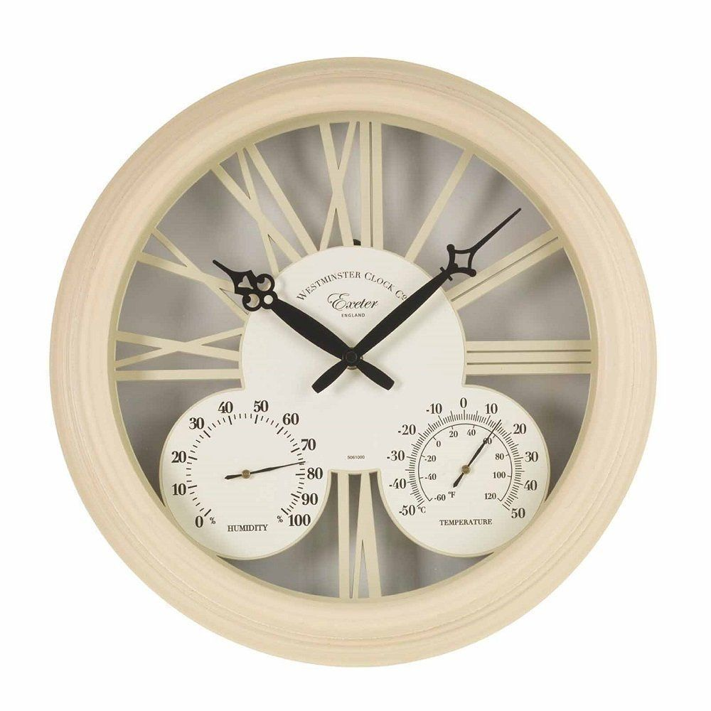 Smart Garden 15 Inch Cream Exeter Wall Clock & Thermometer