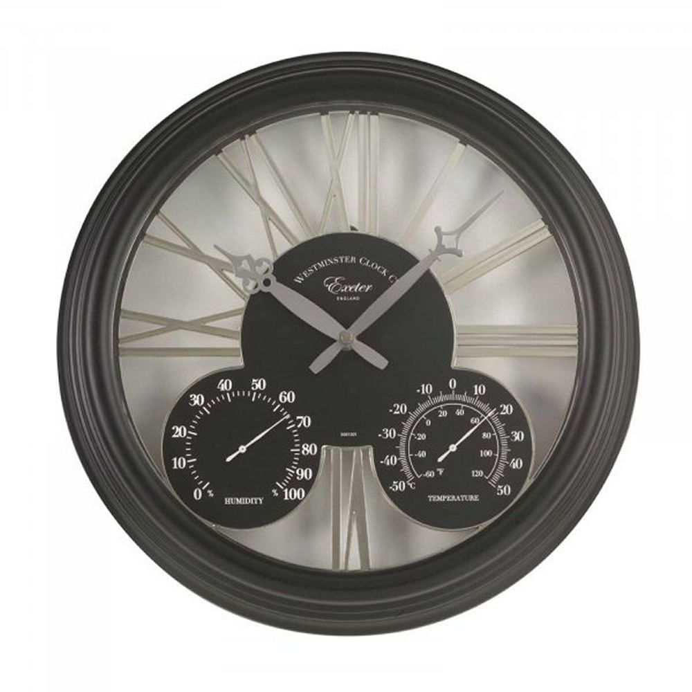 Smart Garden 15 Inch Black Exeter Wall Clock & Thermometer