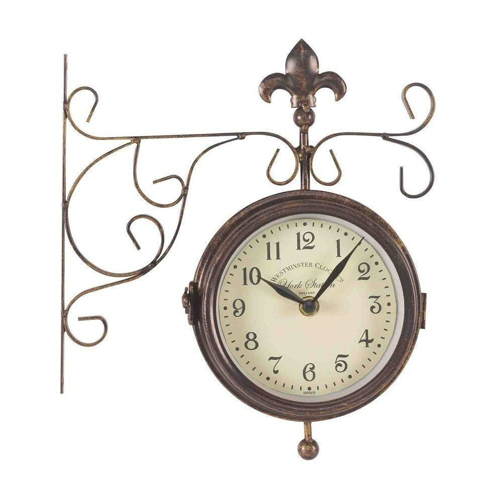 "Outside In 5.5"" York Double-Sided Station Clock & Thermometer"