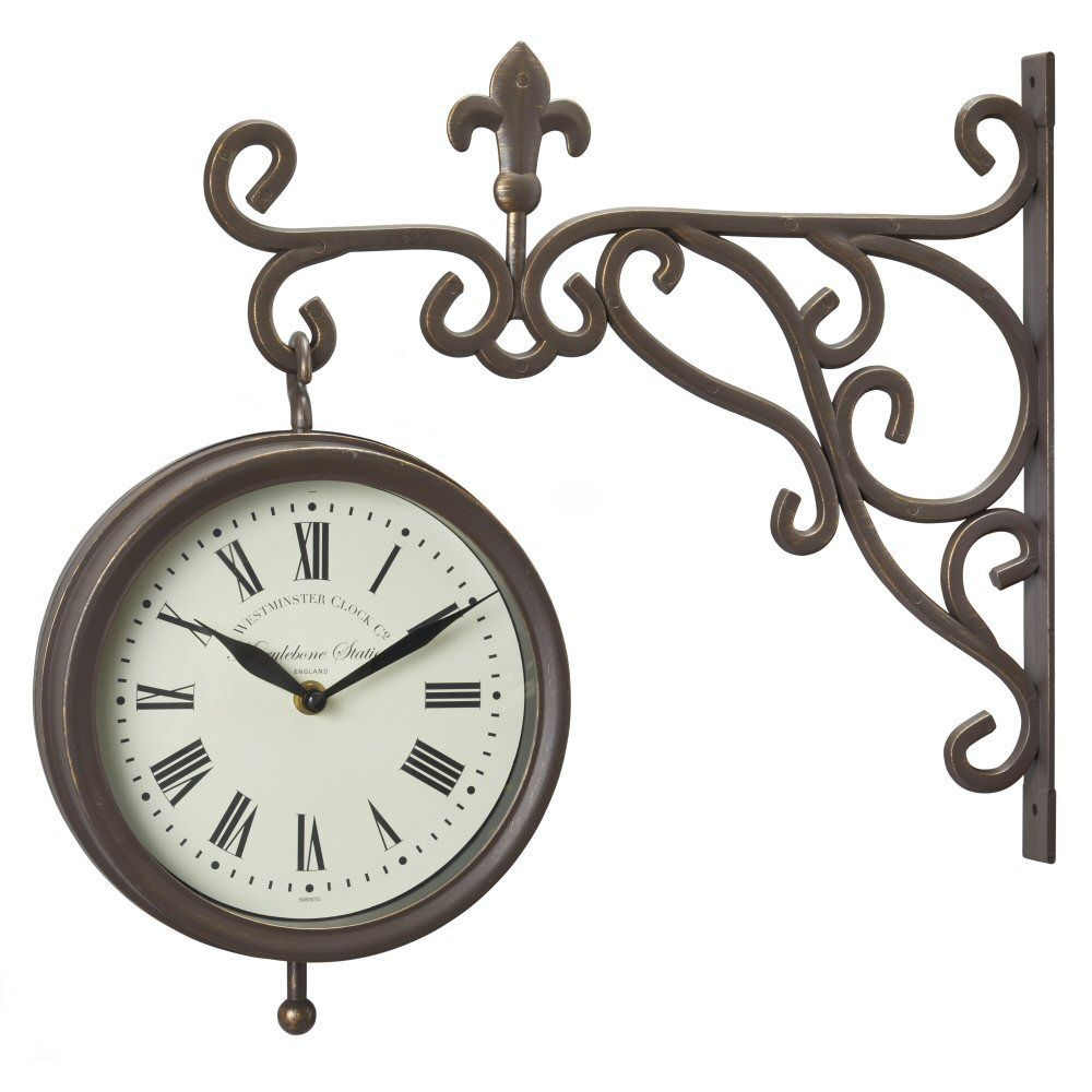 "Outside In 8"" Marylebone Double-Sided Station Clock & Thermometer"
