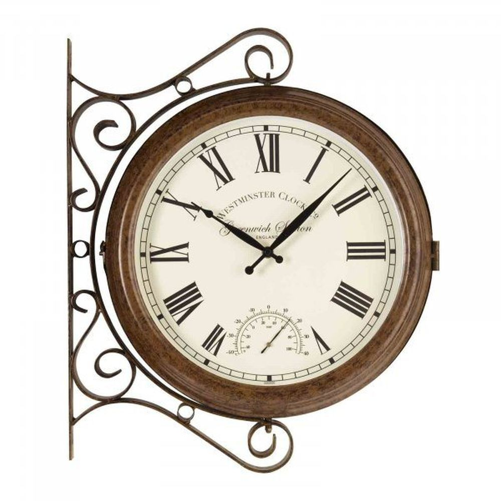 "Smart Garden 15"" Greenwich Station Wall Clock & Thermometer"