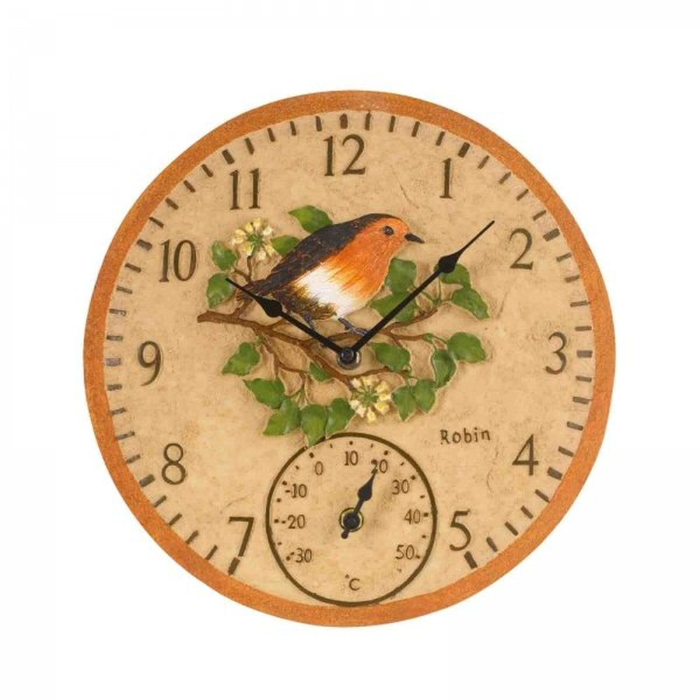 Smart Garden 12 Inch Robin Wall Clock & Thermometer