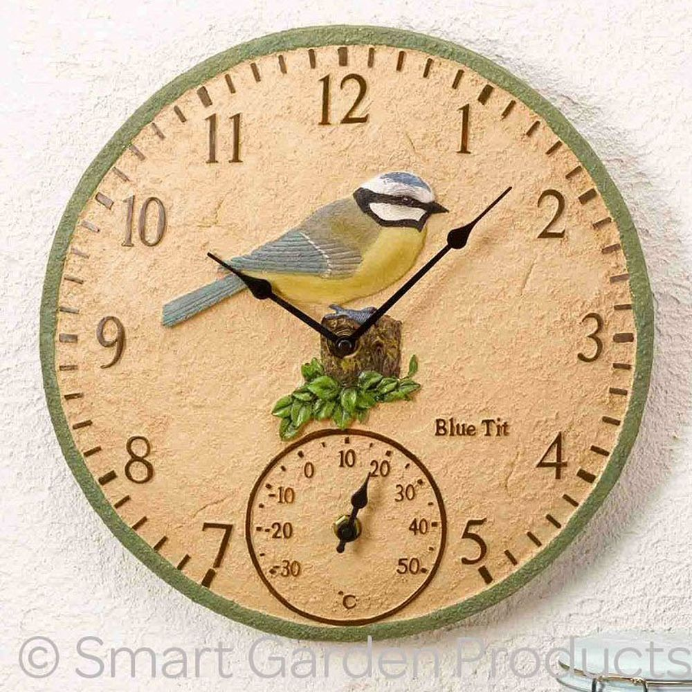 Smart Garden Blue Tit Wall Clock & Thermometer
