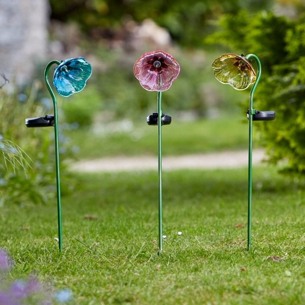 Smart Solar Glass Painted Flower Lights (Choice of 3) - 1012529