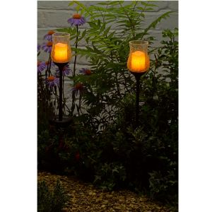 Smart Solar Glass Candle Stake Light - 1011330PS