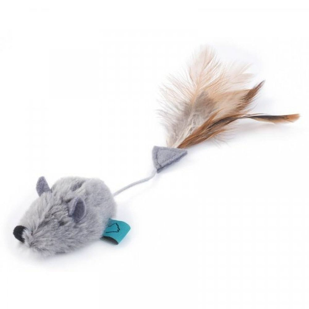 Zoon Nip-it Catnip Grey Mouse & Feather Cat Toy