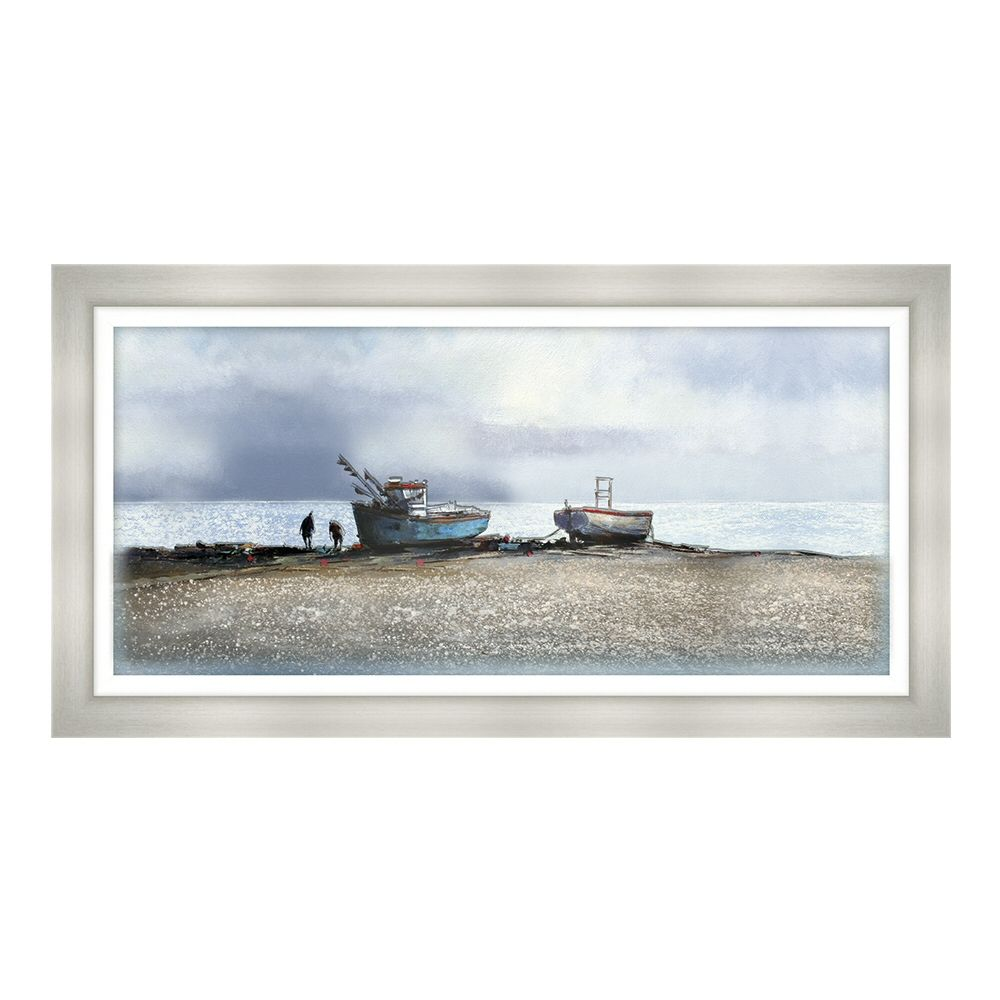 Artko 109cm 'Fishing Boats, Aldeburgh Beach' Glass Print by Michael Sanders