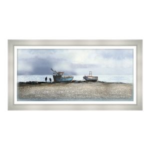 Artko 109 x 54cm 'Fishing Boats, Aldeburgh Beach' Glass Print by Michael Sanders