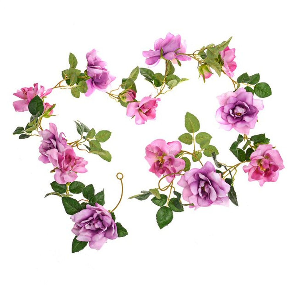 CB Imports 185cm Purple Rose Garland Artificial Flower