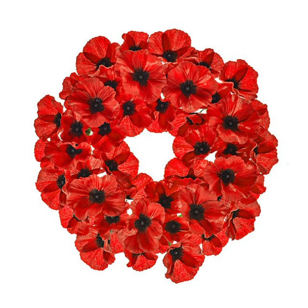 40cm Artificial Red Poppy Wreath