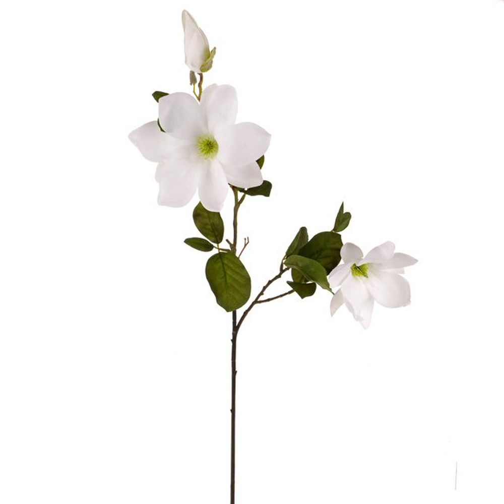 85cm Artificial White Magnolia Spray