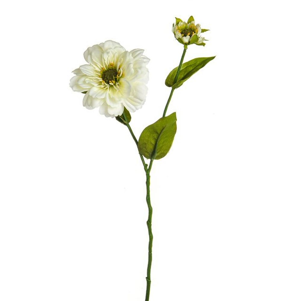 42cm Artificial Cream Dolly Zinnia Spray