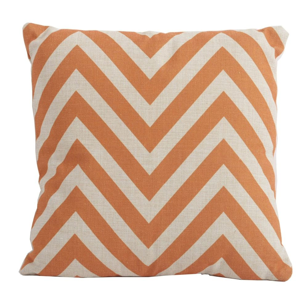 Bramblecrest Square Scatter Cushion - Orange Chevron