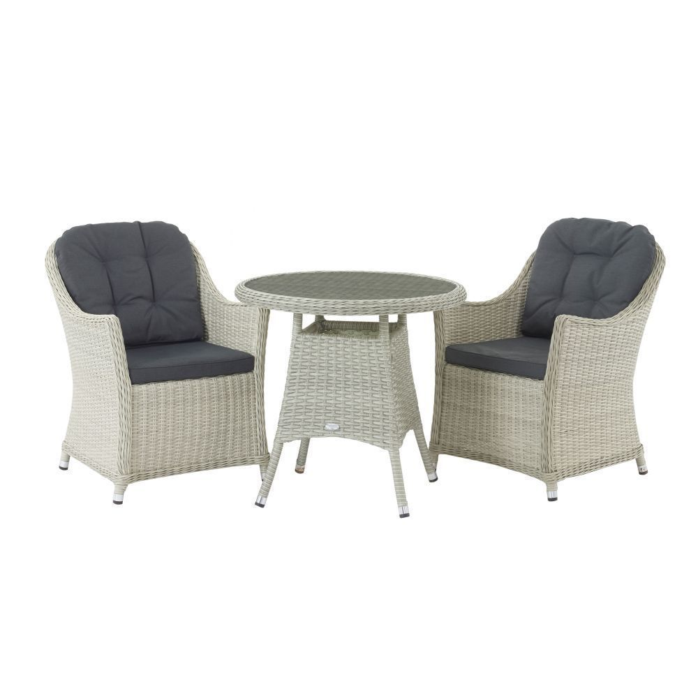 Bramblecrest Monterey 80cm Bistro Table 2 Chairs Dove Grey