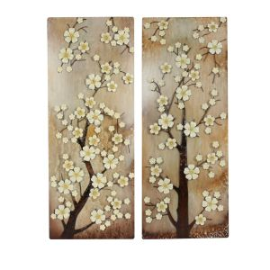 Straits 91cm White Flowered Tree Wall Art (Choice of 2) - 10263