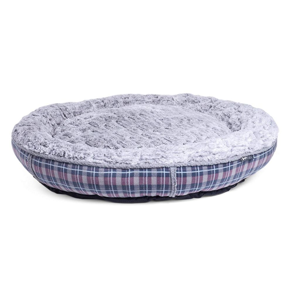 Petface X-Large Dove Grey Check Pattern Donut Dog Bed