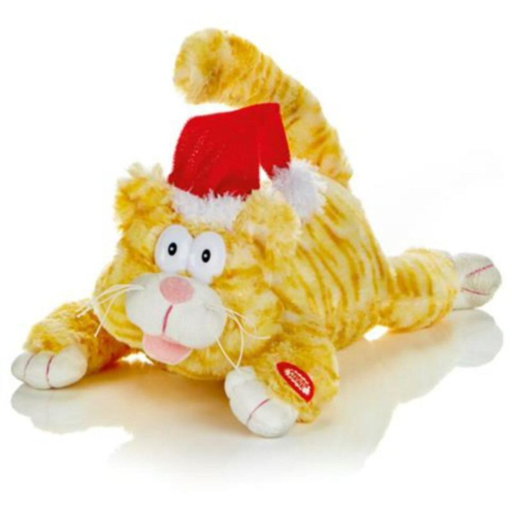 Premier 28cm Animated Laughing Cat with Christmas Hat
