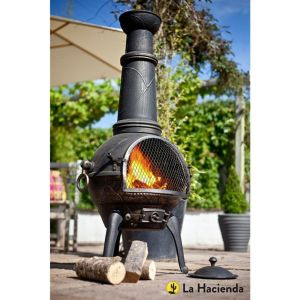 La Hacienda Sierra Extra Large Bronze Cast Iron Chiminea with Grill