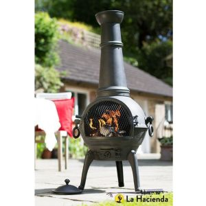 La Hacienda Lisbon Extra Large Black Cast Iron and Steel Chimenea