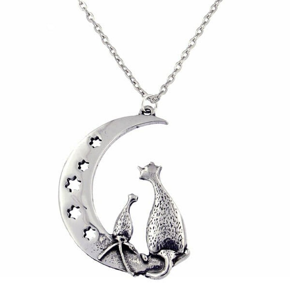 St Justin Purrfect Cats On Moon Pendant