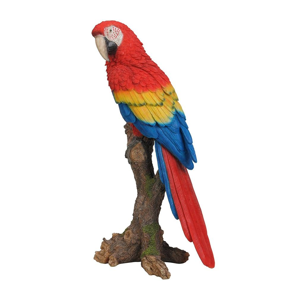 Vivid Arts 38cm Red Macaw Perched Resin Ornament - XRL-MCW5-B