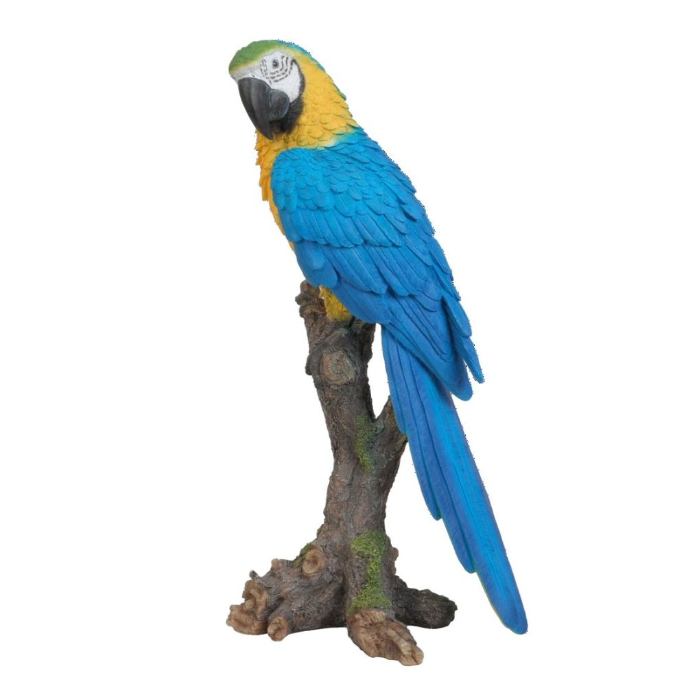 Vivid Arts 38cm Yellow Macaw Perched Resin Ornament - XRL-MCW7-B