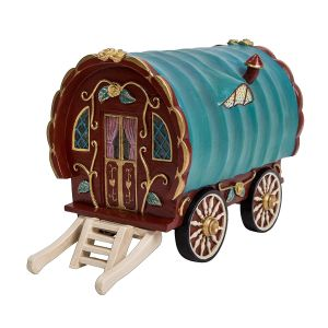 Vivid Arts Miniature World 19.3cm Red Gypsy Caravan Ornament