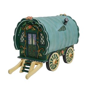 Vivid Arts Miniature World 19.3cm Green Gypsy Caravan Ornament