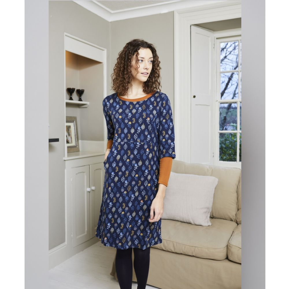Lily & Me Navy Charford Lino Leaf Dress - Size 8