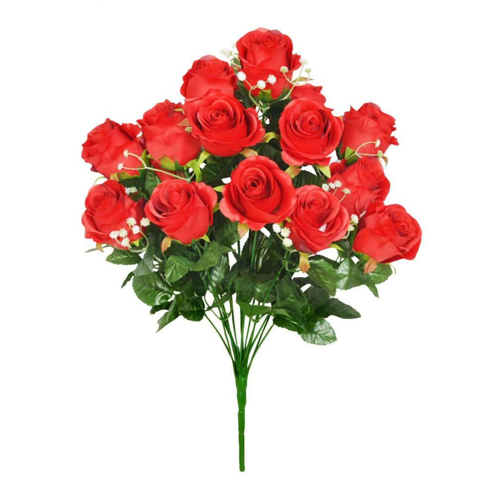 48cm Red Rosebud Foliage Bouquet