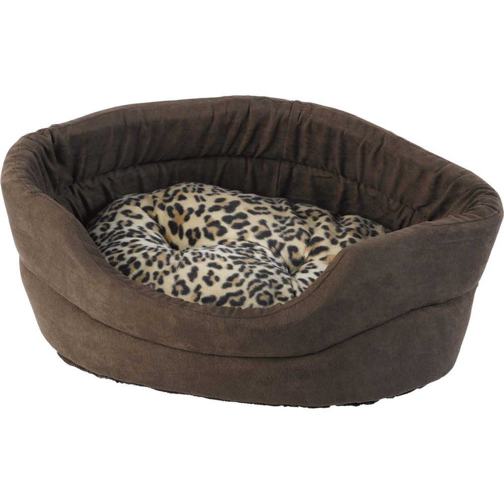 Petface Mollie's Faux Suede Leopard Oval Cat Bed