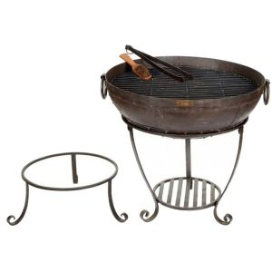 Kadai 80cm Recycled Firebowl with High & Low Stands