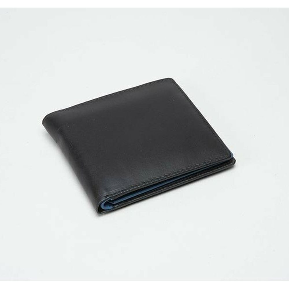 Charles Smith Flap Over Leather Wallet - Black/Blue