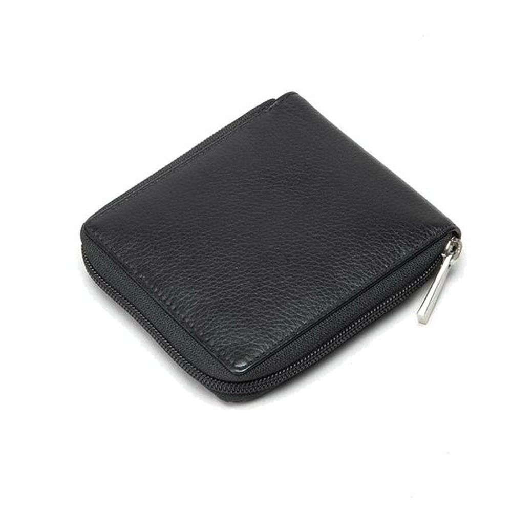 Charles Smith Zip Round Leather Wallet - Black