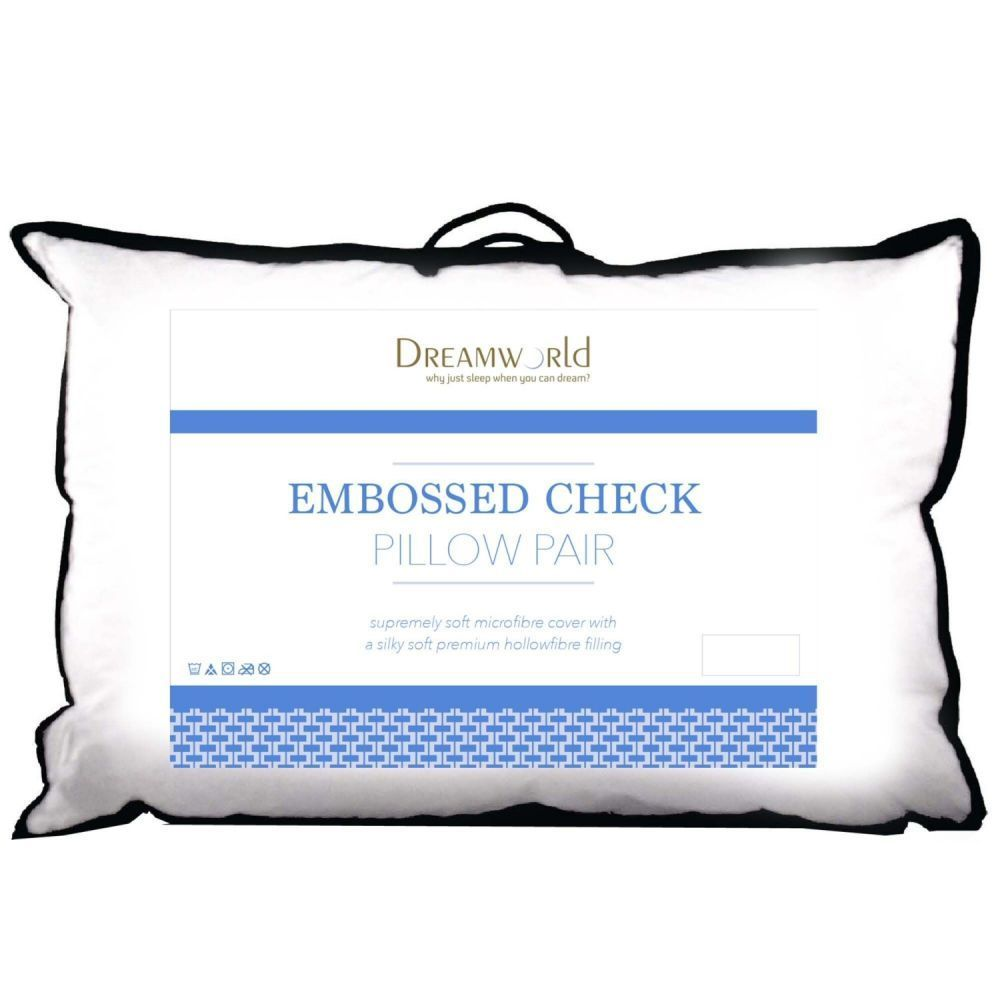 Dream World Microfibre Embossed Check Pillow Pair