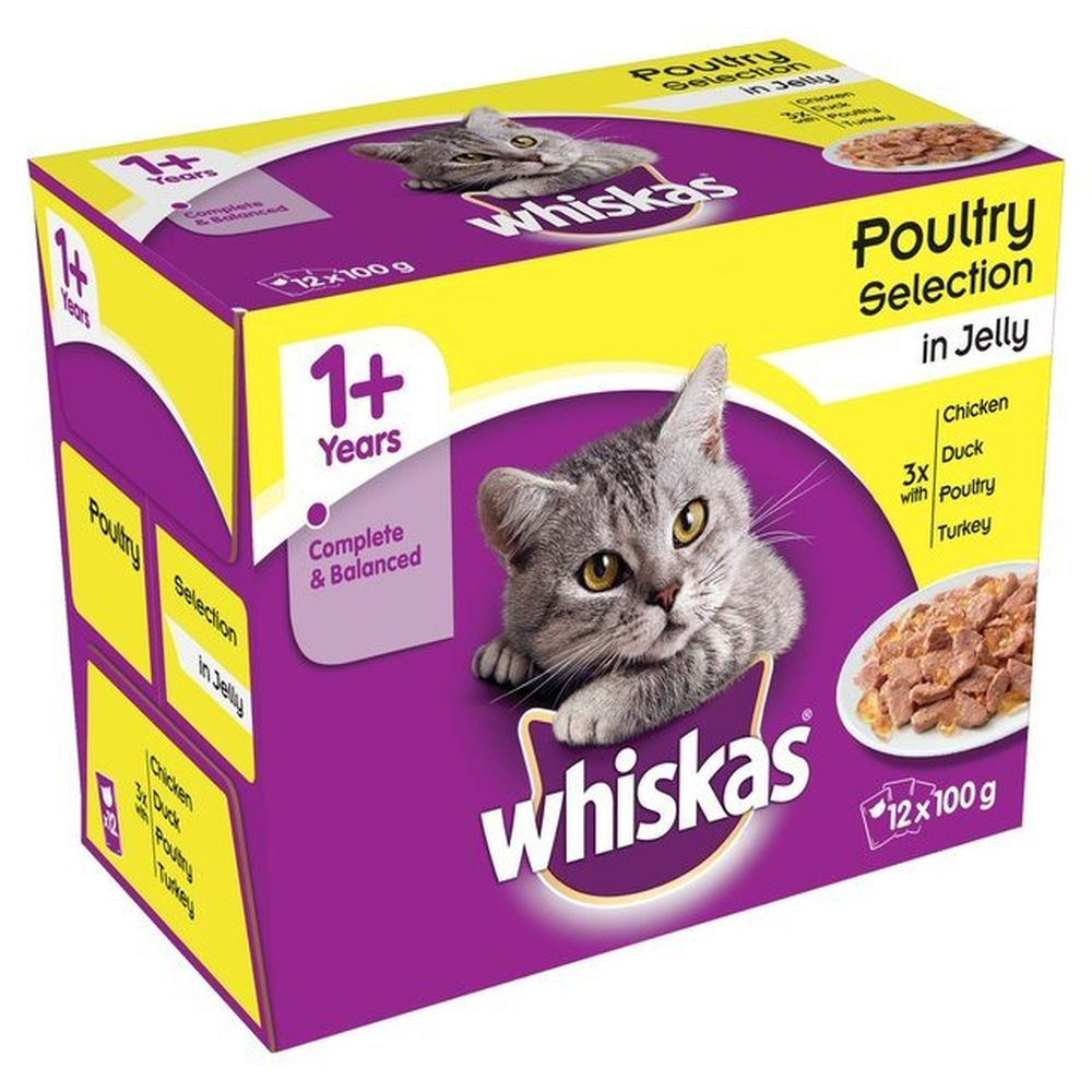 Whiskas 12 x 100g 1+ Poultry Selection Cat Food Pouches in Jelly