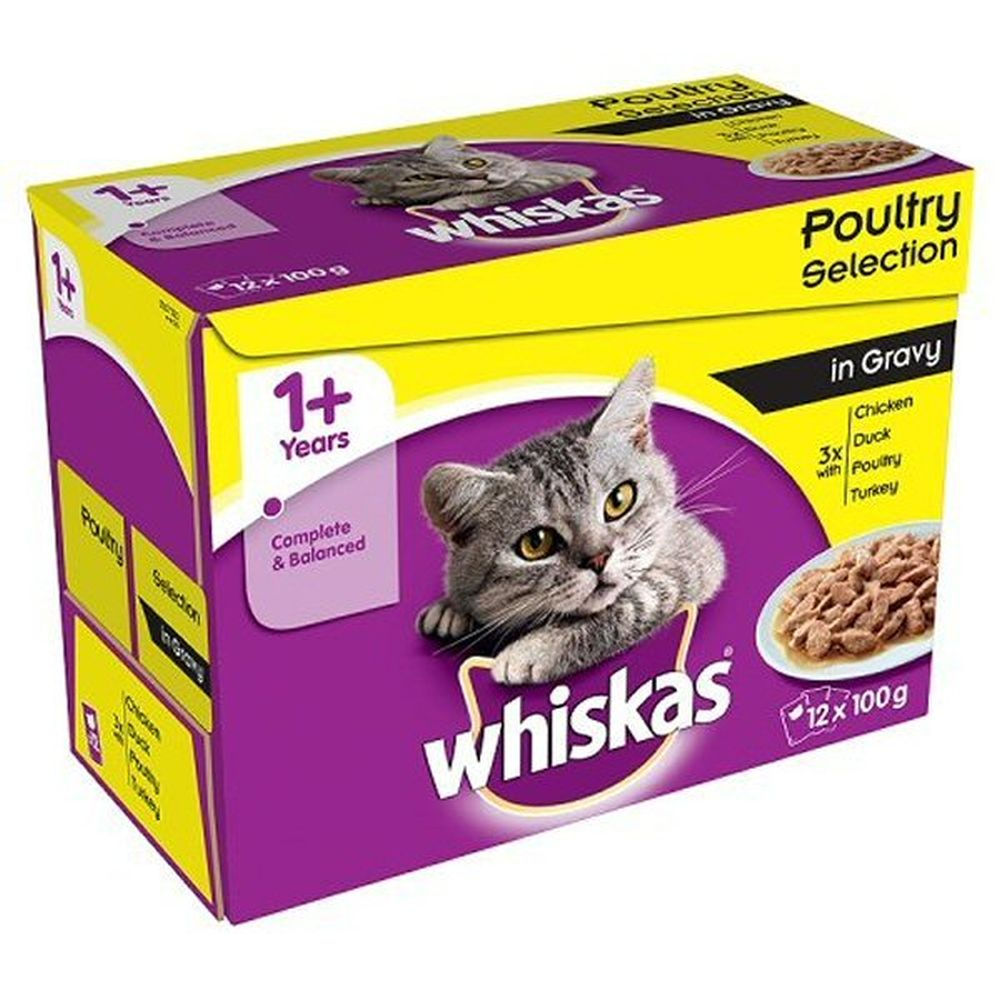 Whiskas 12 x 100g 1+ Poultry Selection Cat Food Pouches in Gravy
