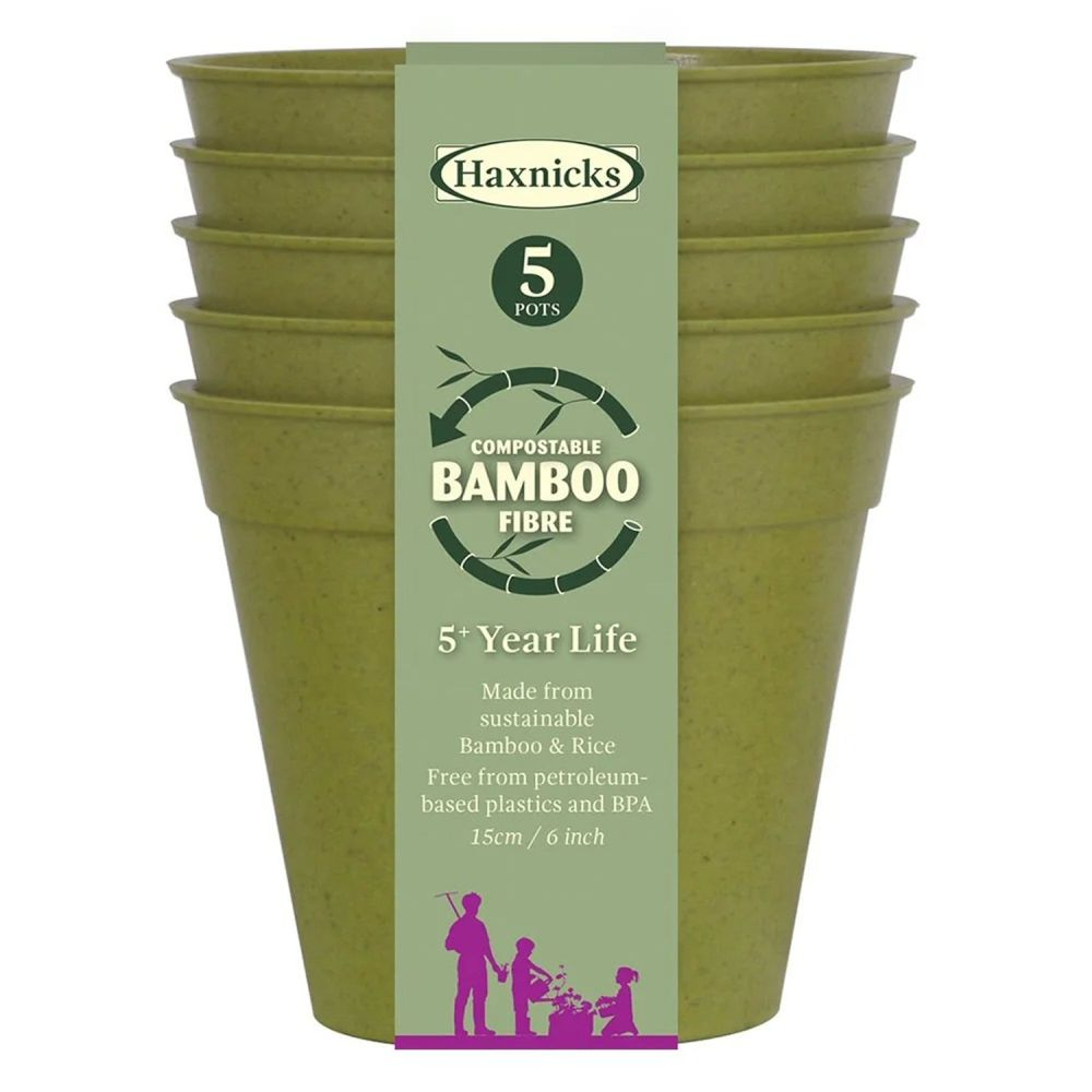 "Haxnicks 6"" Bamboo Pots (Pack of 5)"