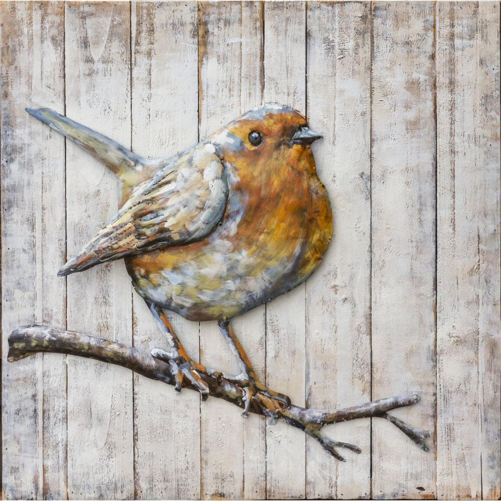 Fountasia 60cm Metal Right Facing Robin Wall Art Pictures