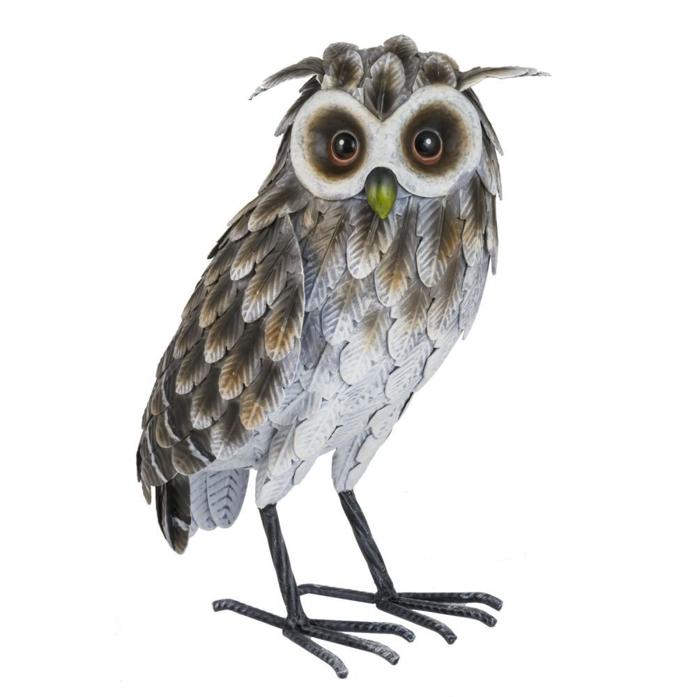 Fountasia 33cm Large Grey Owl Metal Ornament